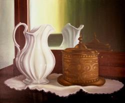 Natura morta con vaso bianco e porta gioie in rame